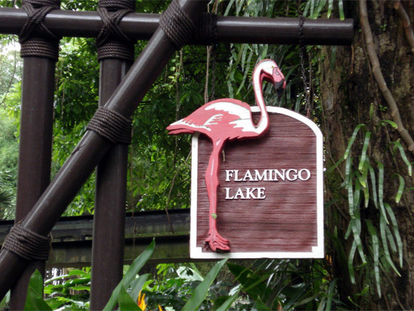 The sign welcoming us to Flamingo Lake