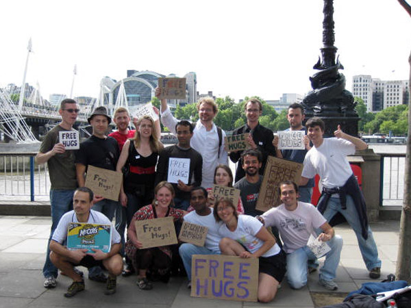 Free Hugs action with CouchSurfers in London, England