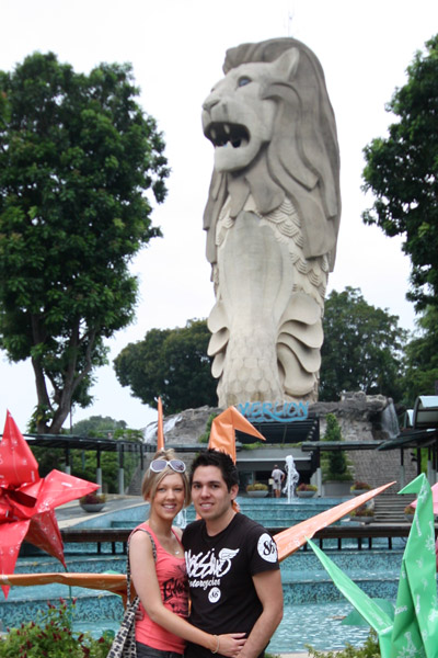 In front of Sentosa Merlion