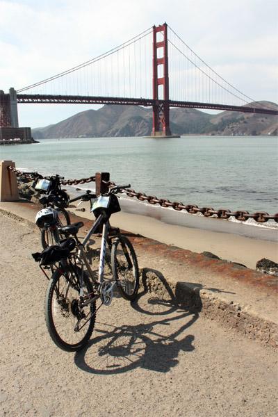 Bikes overlooking the bridge