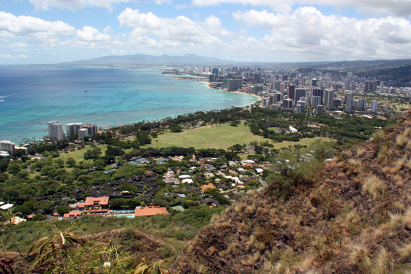 The view from the top of Diamond Head Crater