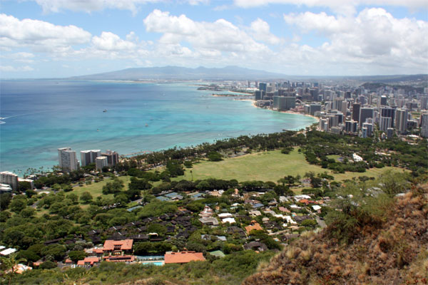 View from the top of Diamond Head - Honolulu and Waikiki