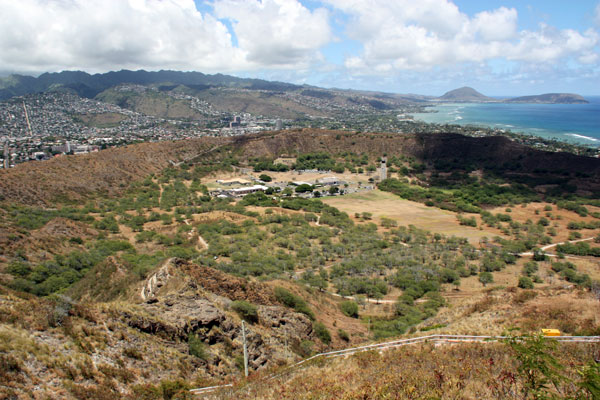 View from the top of Diamond Head - Inside the Crater