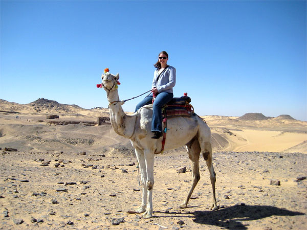 Riding a camel in Aswan, Egypt in 2008.