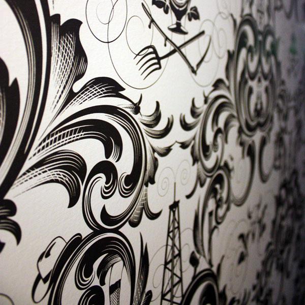 The beautiful walls in the Padre corridors.