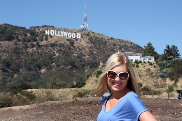 Amy in front of the Hollywood Sign.