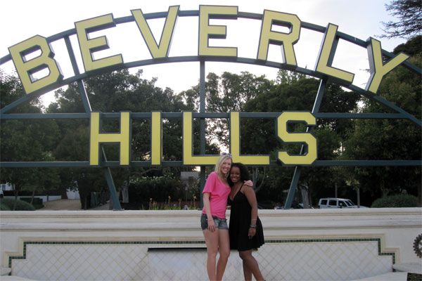 Amy and Sheryll in front of the Beverly Hills Sign