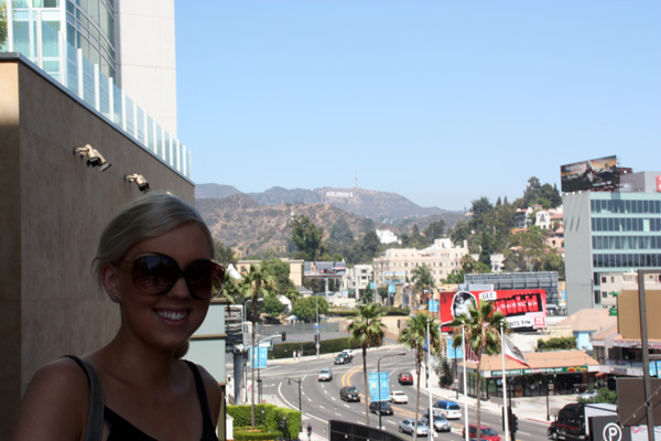 Amy in front of the Hollywood Sign