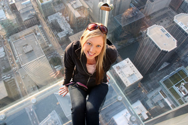 Amy on The Ledge at Skydeck Chicago