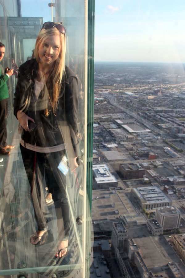 Amy on The Ledge Skydeck Chicago