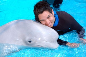 Kieron with Oliver the Beluga Whale