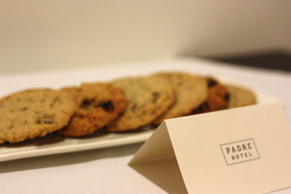 Welcome cookies from the Padre Hotel