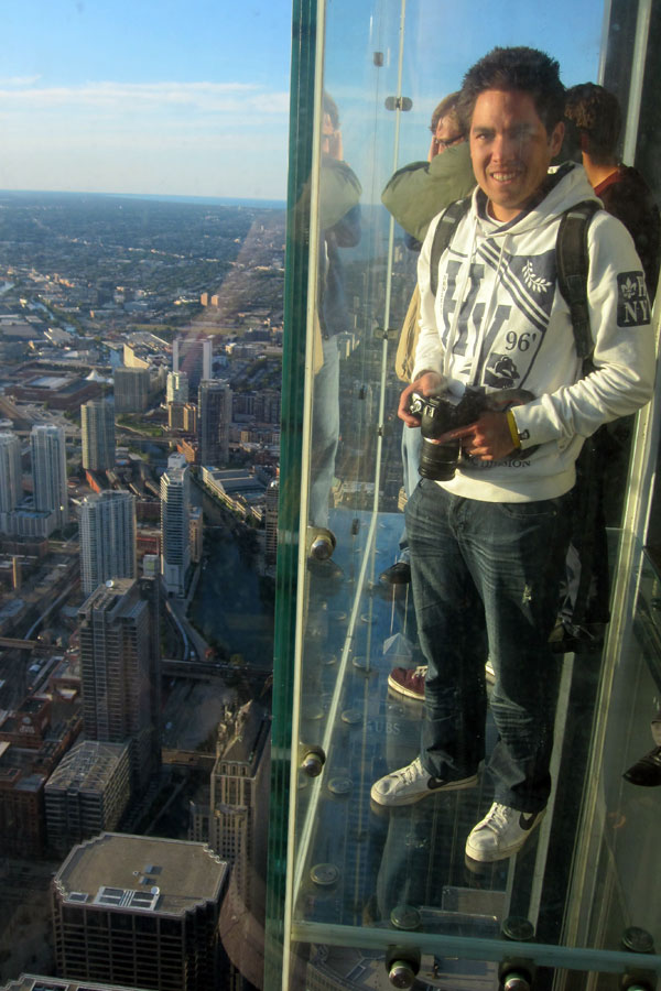 Kieron on The Ledge Skydeck Chicago
