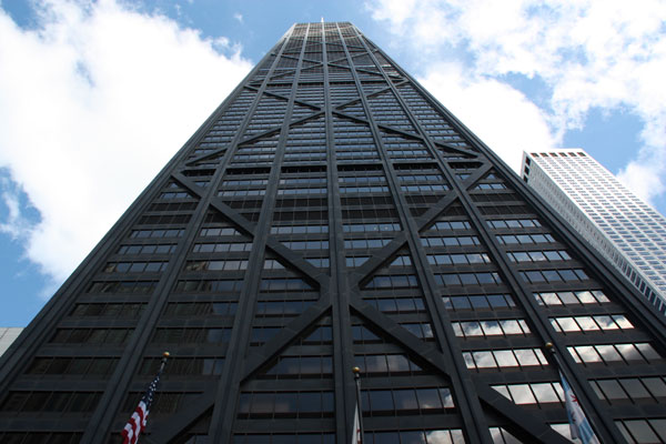 Looking up at the John Hancock Observatory