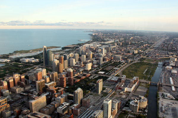 Looking south from The Skydeck Chicago