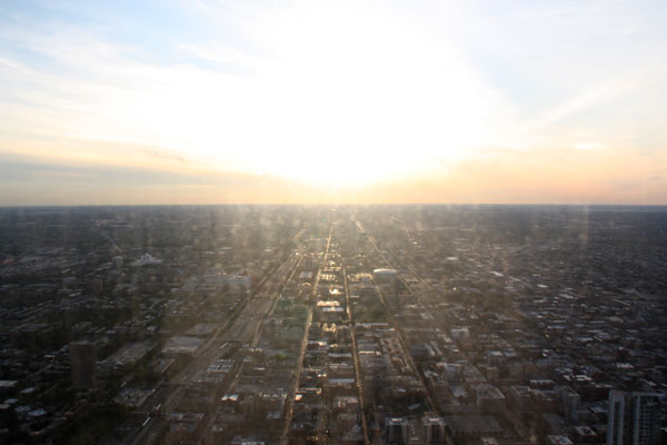 The sun setting over West Chicago