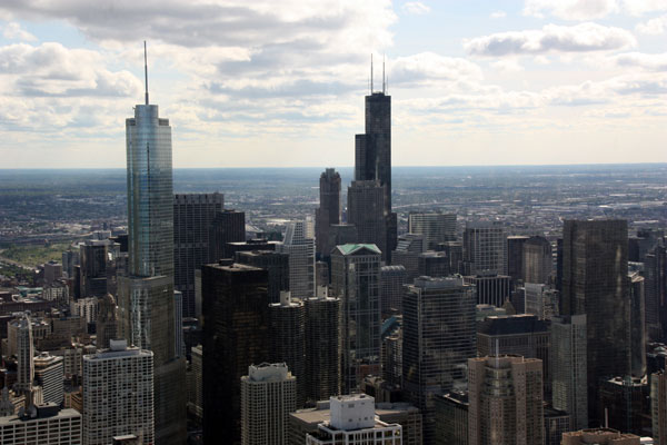 A view of Willis Tower from the John Hancock Observatory
