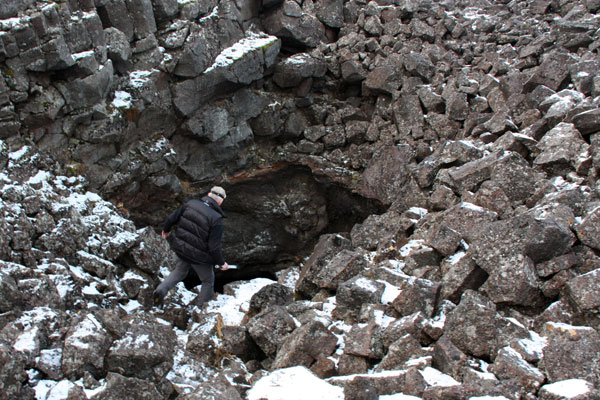 Oskar leading the way into Surtshellir Lava Cave