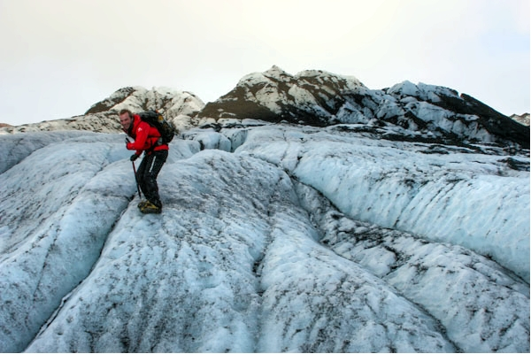 Jón teaching us how to walk on the glacier