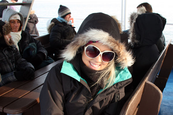 Amy keeping warm while whale watching