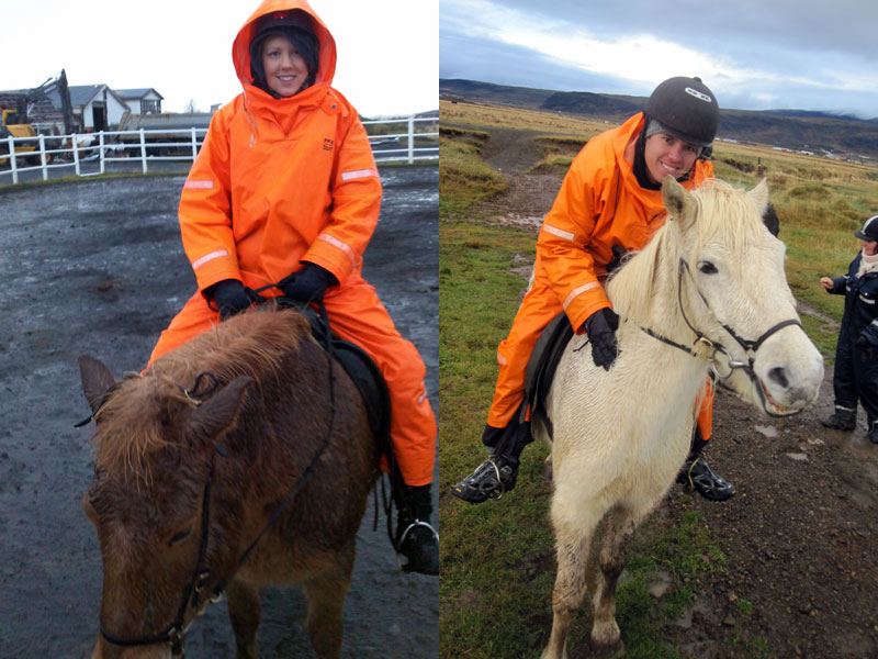 Amy and Kieron on our Icelandic Horses