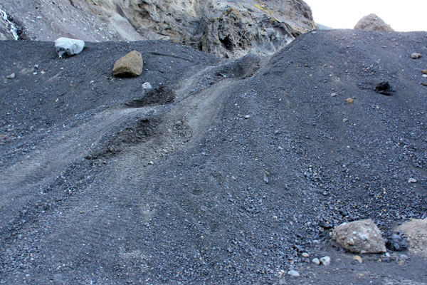 Tyre marks - yes, the Mountain Taxi came down that hill!