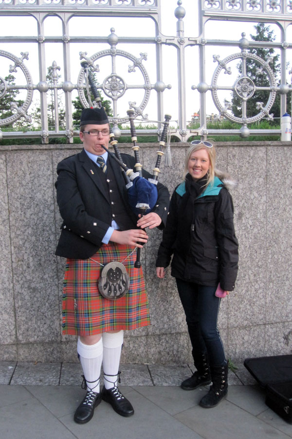 Amy with Scottish Bagpiper