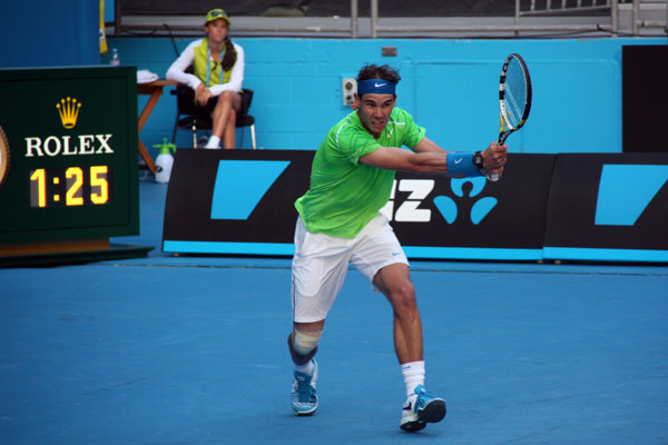 Rafael Nadal in his first round match against Alex Kuznetsov