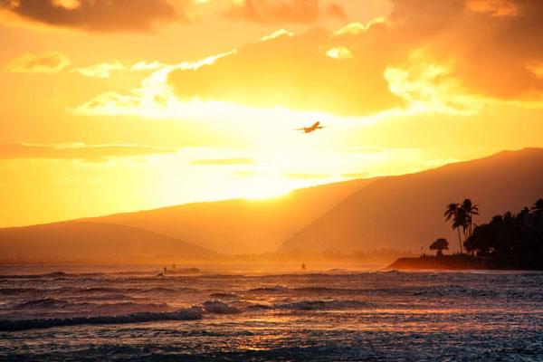Sunset over Honolulu, Hawaii