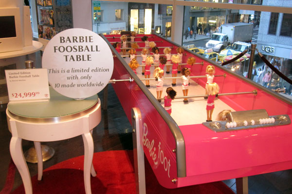 Barbie Foosball Table at FAO Schwarz
