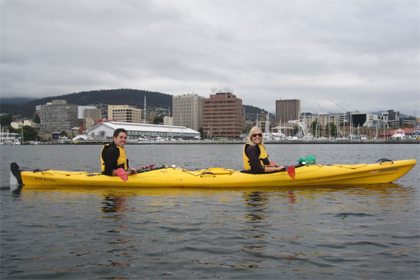 Kayaking with Hobart Skyline in the background