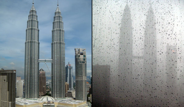 Petronas Towers - Before And During Storm
