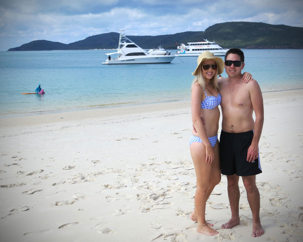 Amy and Kieron on Whitehaven Beach
