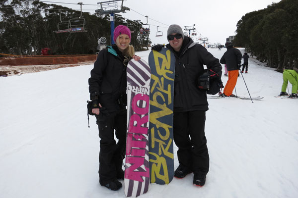 Happy snowboarders - Amy and Kieron