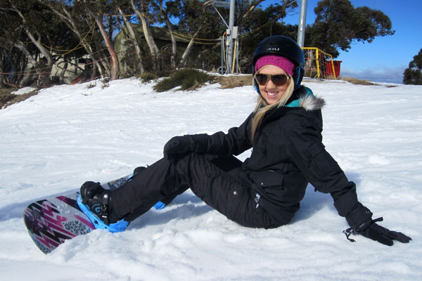 Amy ready to snowboard