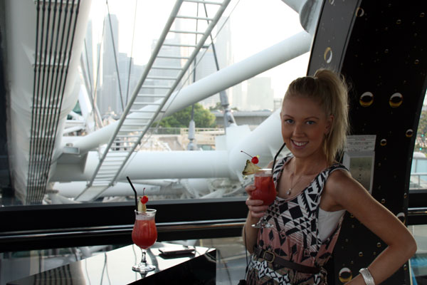 Amy with her Singapore Sling