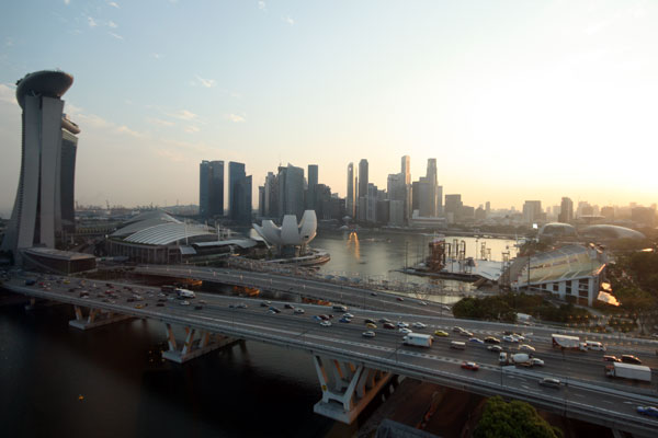 View of Marina Bay and Singapore Skyline from the Singapore Flyer