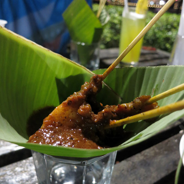 Assorted Satay with Condiments in Banana Leaf Cone
