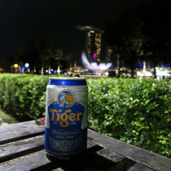 Tiger Beer overlooking Marina Bay Sands