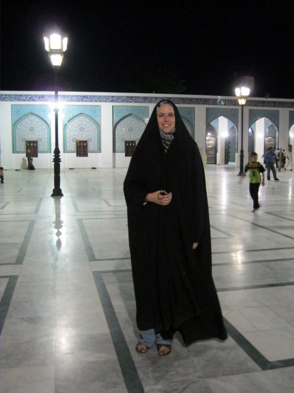 Trying my best to blend in, I wore a black chador at the Iranian-style Sayyida Zeinab Mosque in Damascus, Syria last year.