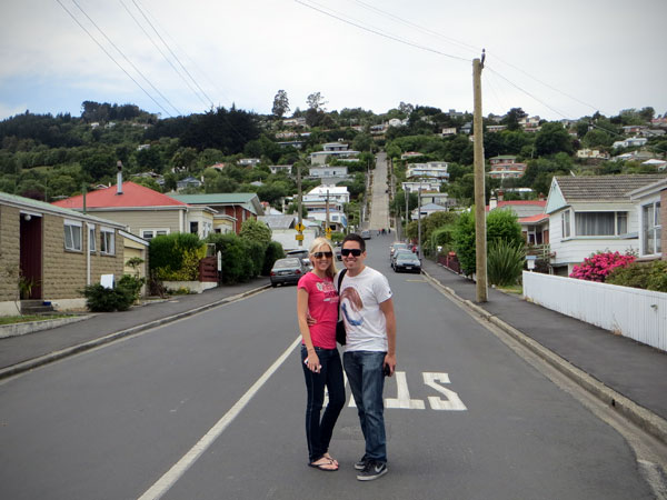 After climbing Baldwin Street, steepest street in the world.
