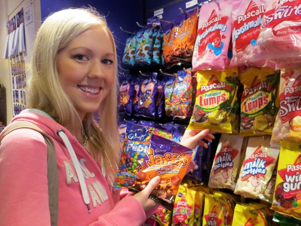 Amy in the Cadbury World Shop
