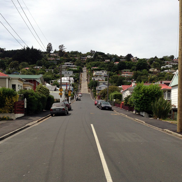 The start of Baldwin Street, Dunedin