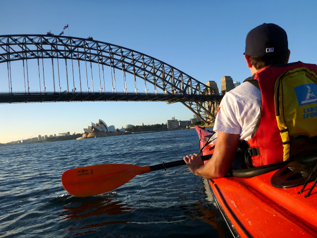 About to kayak under the Sydney Harbour Bridge
