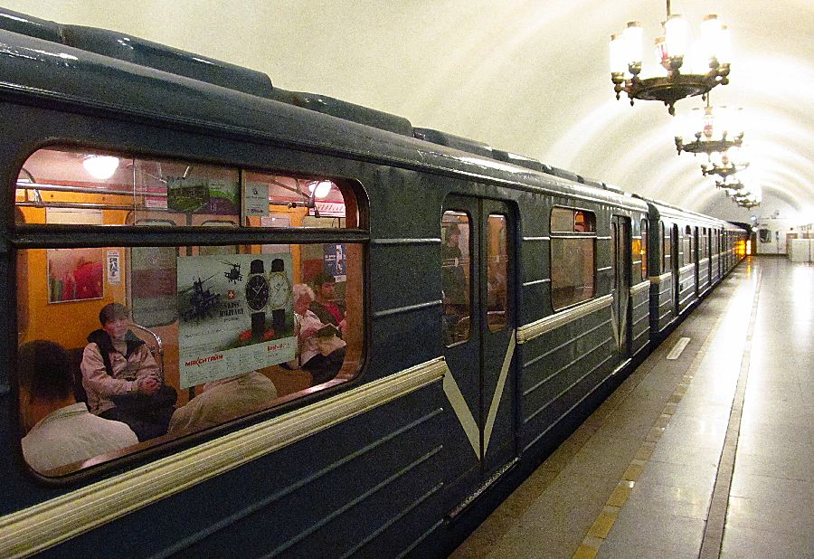 Inside of the subway station in St. Peterburg, Russia