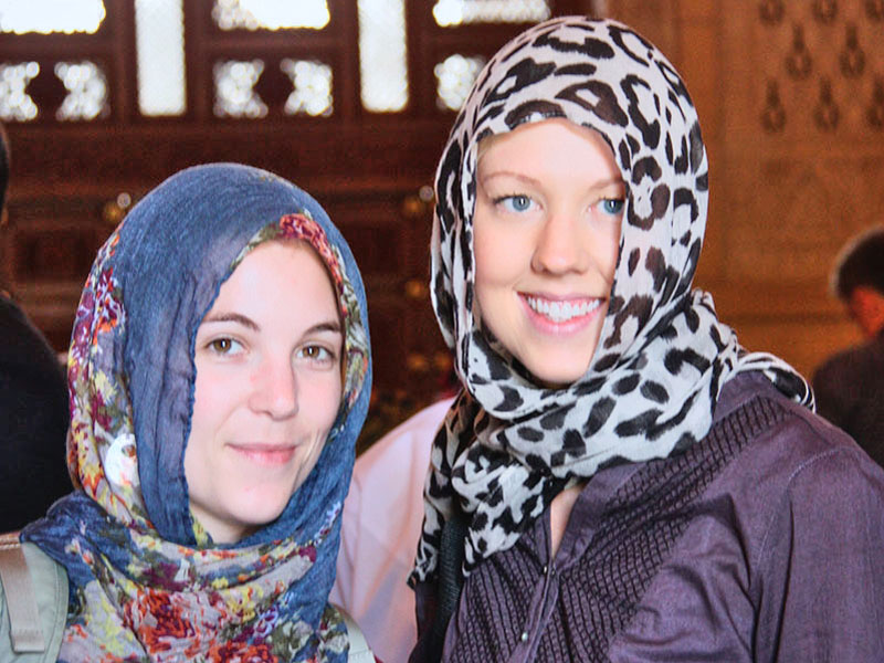 Brooke and Amy at Sultan Qaboos Grand Mosque Oman