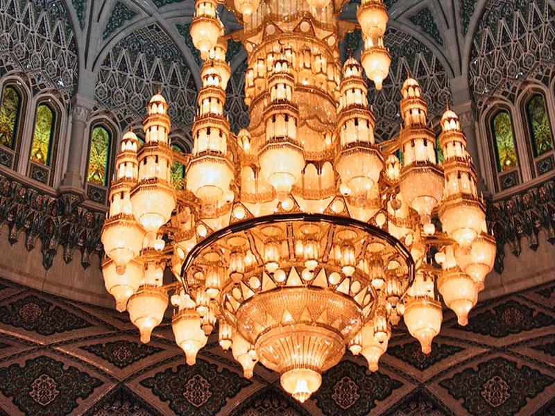 Chandelier at Sultan Qaboos Grand Mosque Oman