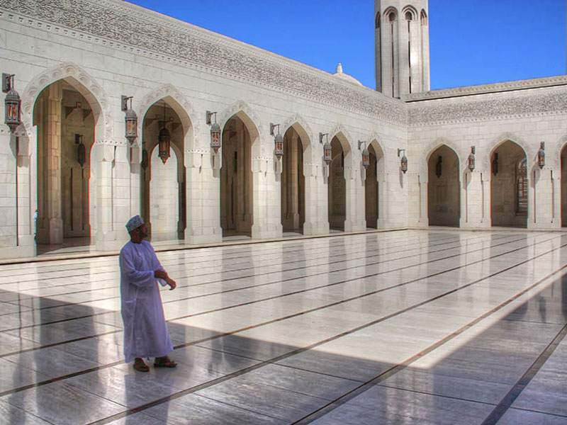 Within the Sultan Qaboos Grand Mosque Oman