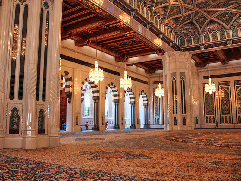 Inside the Prayer Hall at the Sultan Qaboos Grand Mosque Oman