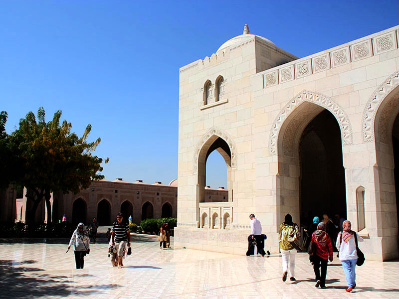 Outside the Sultan Qaboos Grand Mosque Oman